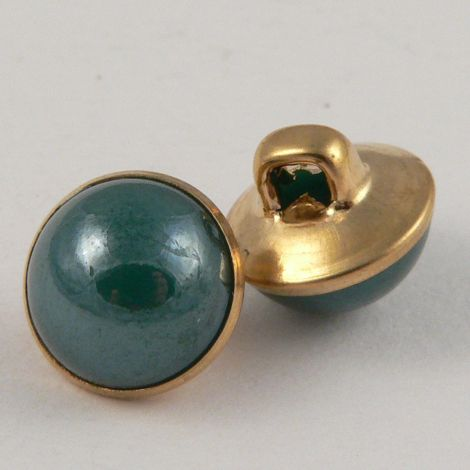 10mm Green/Gold Domed Shank Sewing Button