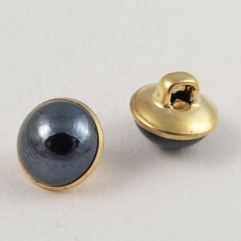 10mm Navy/Gold Domed Shank Sewing Button
