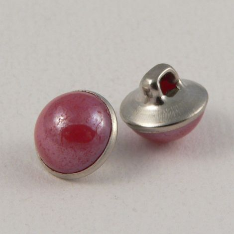10mm Pink/Silver Domed Shank Sewing Button