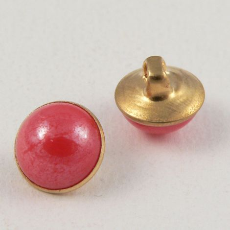 10mm Pinky-Red/Gold Domed Shank Button