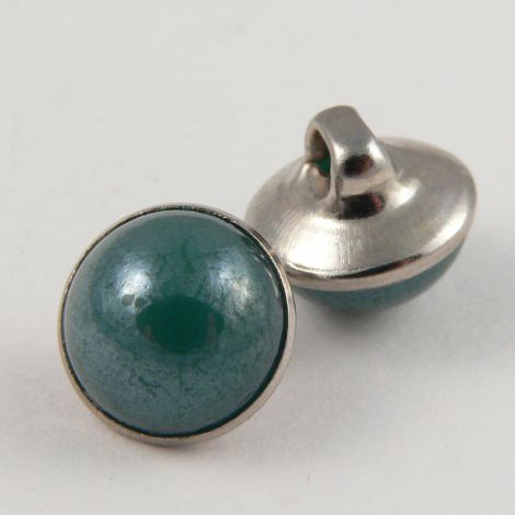 10mm Green/Silver Domed Shank Sewing Button