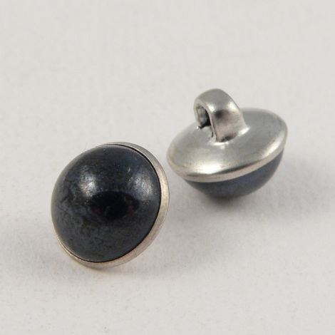 10mm Navy/Silver Domed Shank Sewing Button