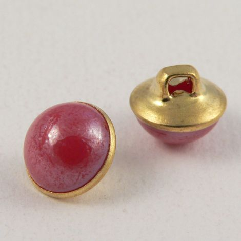 10mm Pink/Gold Domed Shank Sewing Button