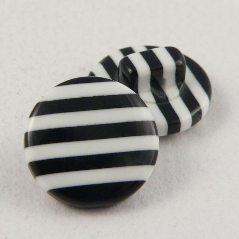 12mm Plastic White/Black Stripes Shank Sewing Button