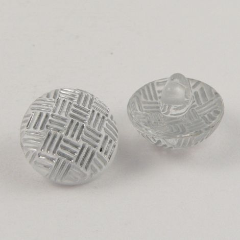 11mm Criss-Cross Silver Domed Shank Sewing Button