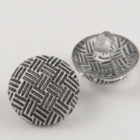 11mm Criss-Cross Black Domed Shank Sewing Button
