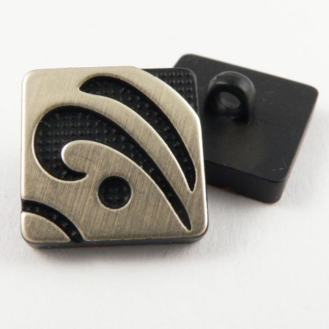 16mm Black/Gold Square Contemporary Shank Sewing Button