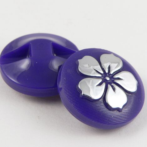13mm Purple Round Contemporary Flower Shank Button