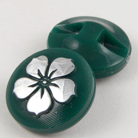 13mm Green Round Contemporary Flower Shank Button