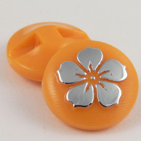 13mm Orange Round Contemporary Flower Shank Button