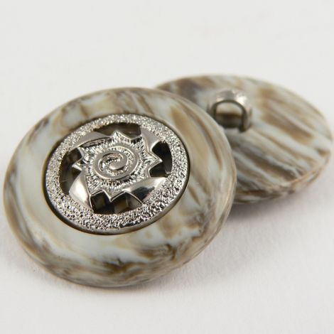 21mm Marble Effect/Silver Contemporary Shank Sewing Button