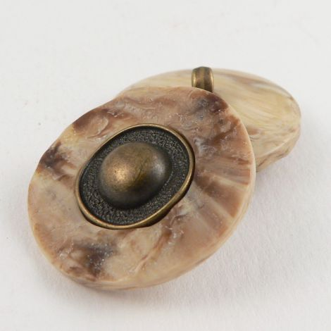 24mm Stone Effect/Old Brass Contemporary Shank Coat Button
