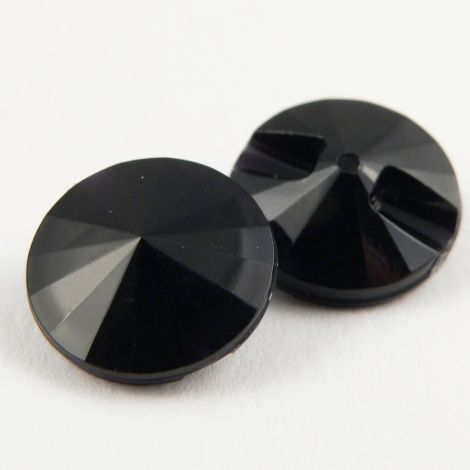 15mm Black Faceted Shank Button