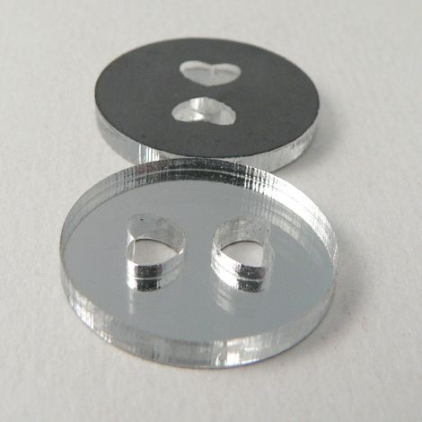 15mm Clear Mirror 2 Hole Button With Heart Shaped Holes