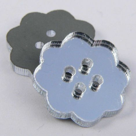 15mm Clear Mirror Flower 4 Hole Button
