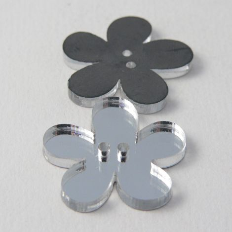 15mm Clear Mirror Flower 2 Hole Button