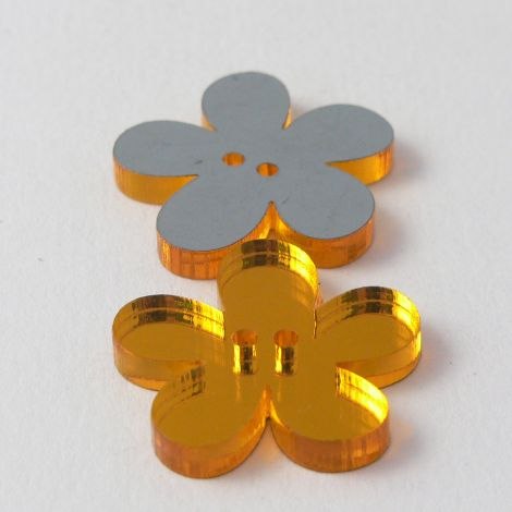 15mm Orange Mirror Flower 2 Hole Button
