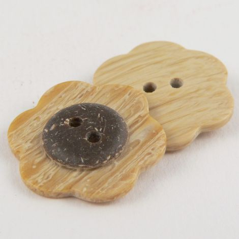 17mm Wood/Coconut Effect Flower 2 Hole Sewing Button