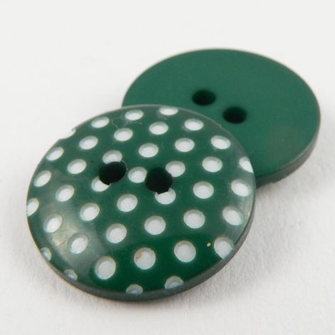 11mm Italian Green Spotty Design 2 Hole Sewing Button