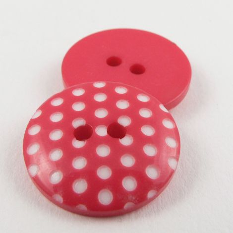 11mm Italian Pink Spotty Design 2 Hole Sewing Button