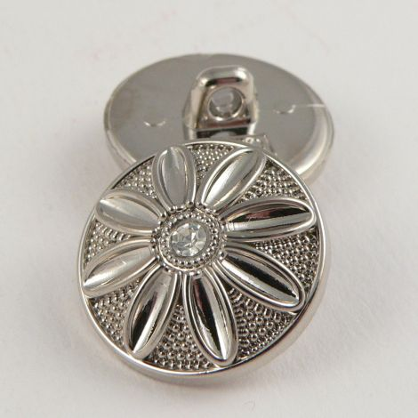 15mm Ornate Silver/Diamante Button