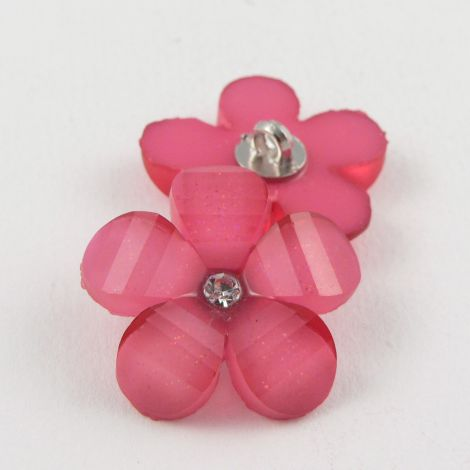 16mm Pink Flower Shank Button With Diamante