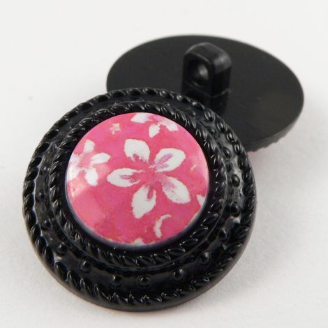 25mm Floral Shank Coat Button Encased In A Black Rim