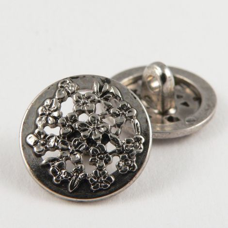 15mm Silver Ornate Shank Sewing Button