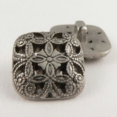 16mm Ornate Pewter Square Shank Sewing Button