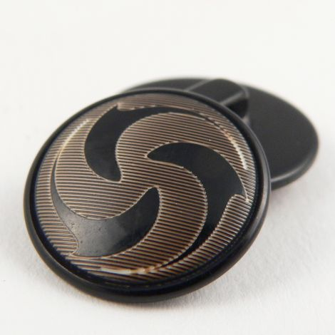 15mm Black/Gold Abstract Swirls Domed Suit Shank Button