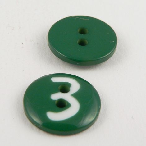 15mm Green Number '3' Italian 2 Hole Button