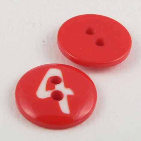 15mm Red Number '4' Italian 2 Hole Button