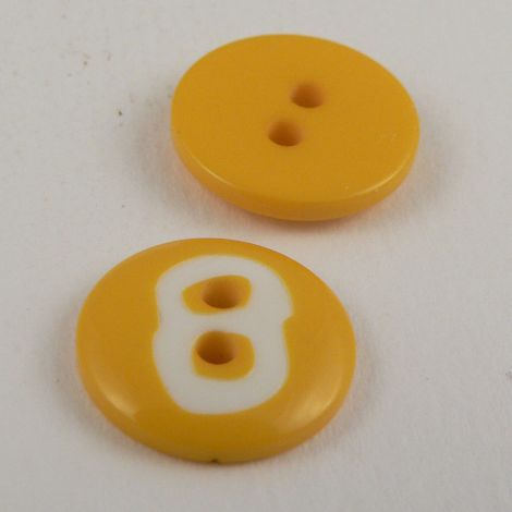 15mm Yellow Number '8' Italian 2 Hole Button