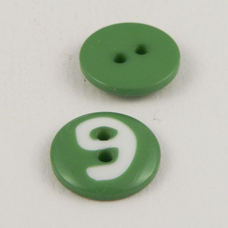15mm Green Number '9' Italian 2 Hole Button