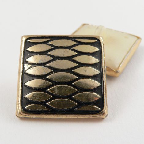 22mm Contemporary Gold/Black Square Shank Coat Button