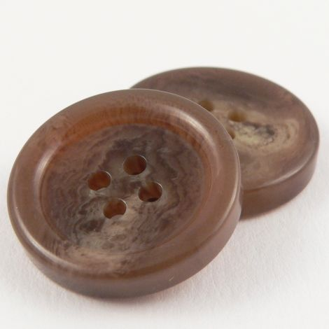 18mm Brown Horn Effect Suit 4 Hole Button