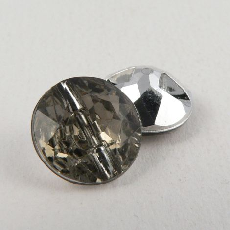 12mm Smoke Grey Faceted Shank Button