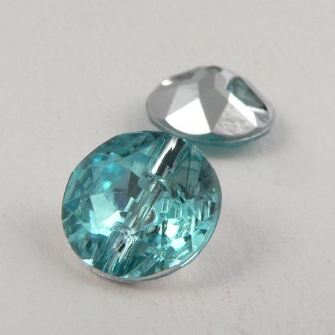 12mm Aqua Blue Faceted Shank Button