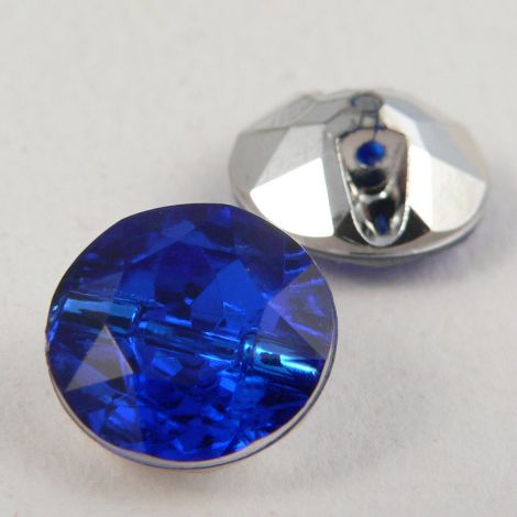 12mm Royal Blue Faceted Shank Button