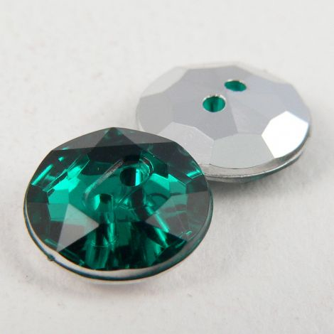12mm Emerald Green 2 Hole Faceted Button