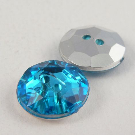 12mm Turquoise Blue 2 Hole Faceted Button