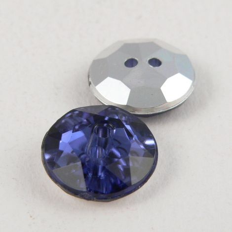12mm Blue 2 Hole Faceted Button