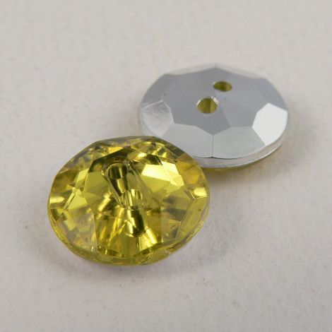 12mm Yellow 2 Hole Faceted Button