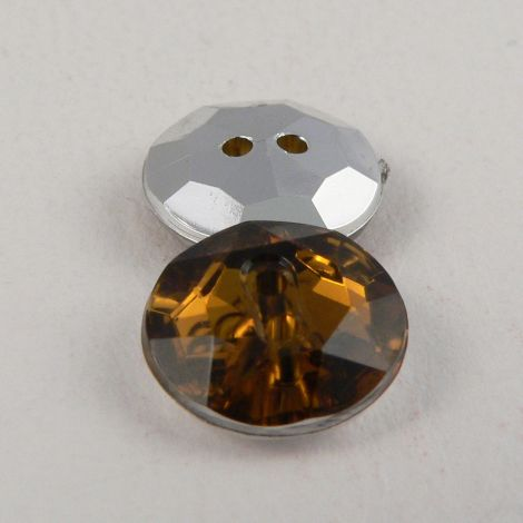 12mm Gold Amber 2 Hole Faceted Button