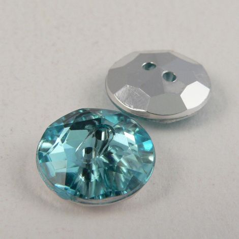 12mm Aqua Blue 2 Hole Faceted Button
