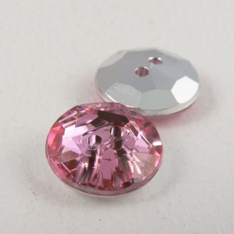 12mm Pink 2 Hole Faceted Button