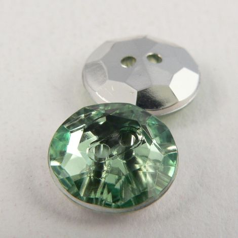 12mm Mint Green 2 Hole Faceted Button