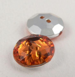 12mm Orange 2 Hole Faceted Button