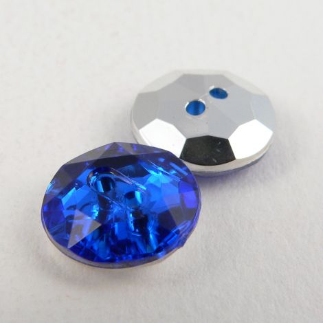 12mm Royal Blue 2 Hole Faceted Button