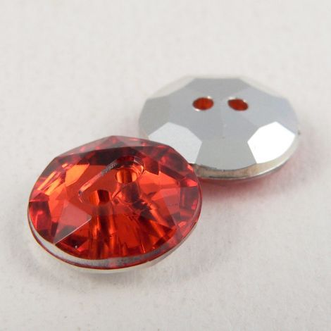 12mm Red 2 Hole Faceted Button